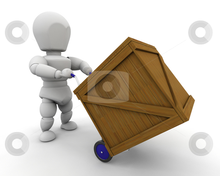 Man with crate stock photo, 3D render of man moving crate by Kirsty Pargeter