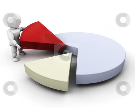 Person with pie chart stock photo, 3D render of someone with a pie chart by Kirsty Pargeter