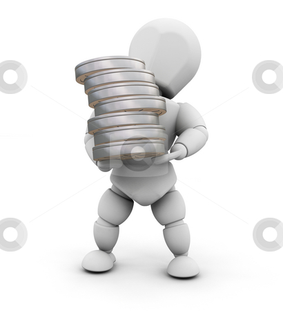 Movie person stock photo, 3D render of someone holding a stack of film reels by Kirsty Pargeter