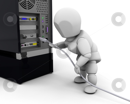 Person plugging in cable stock photo, 3D render of a person plugging in a computer cable by Kirsty Pargeter