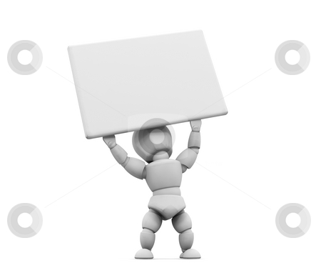 Person holding a sign stock photo, 3D render of someone holding a blank sign by Kirsty Pargeter