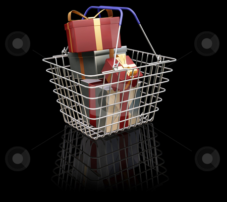 Christmas shopping stock photo, 3D render of a shopping basket full of Christmas presents by Kirsty Pargeter