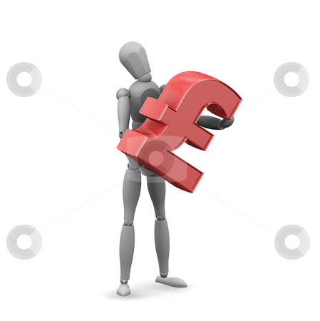Man holding pound sign stock photo, 3D render of a man holding the pound symbol by Kirsty Pargeter
