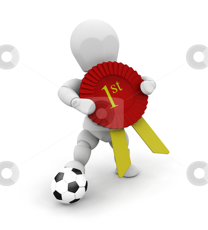 Winner stock photo, 3D render of someone with a football and a first prize ribbon by Kirsty Pargeter