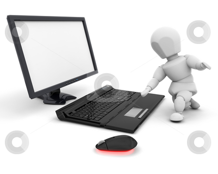 Person using computer stock photo, 3D render of someone using a computer by Kirsty Pargeter