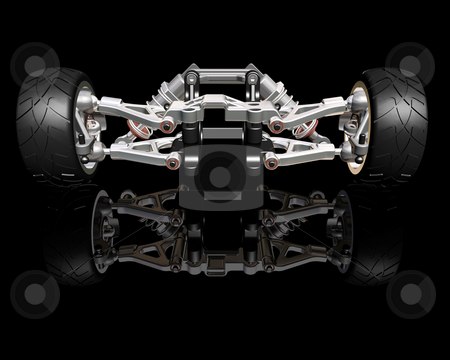 Suspension stock photo, 3D render of wheels with suspension by Kirsty Pargeter