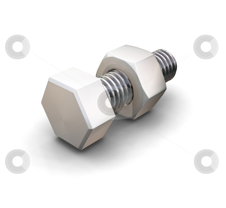 Nut and bolt stock photo, 3D render of a nut and bolt by Kirsty Pargeter