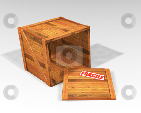 Open wooden crate stock photo, Open wooden crate with fragile sticker by Kirsty Pargeter