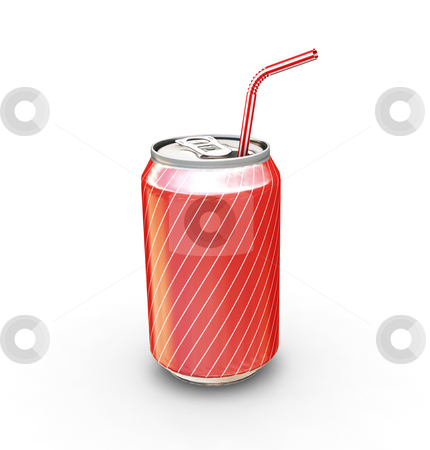 Soda can with straw stock photo, 3D render of a soda can with straw by Kirsty Pargeter