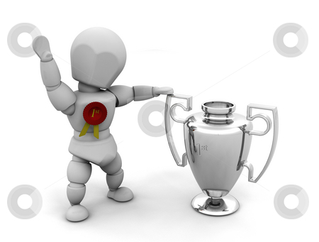 Winner stock photo, 3D render of someone with a first prize trophy and rosette by Kirsty Pargeter