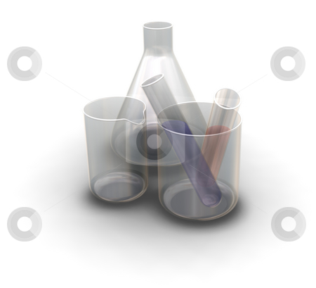 Test tubes and flasks stock photo, 3D render of test tubes and flasks by Kirsty Pargeter