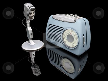 Retro microphone and radio stock photo, 3D render of a retro microphone and radio by Kirsty Pargeter