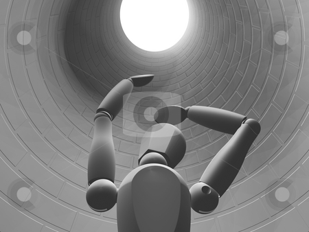 Trapped stock photo, 3D render of someone stuck down a hole by Kirsty Pargeter