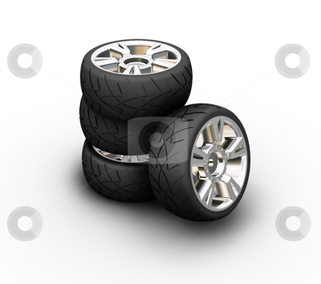 Car tyres stock photo, 3D render of car tyres by Kirsty Pargeter