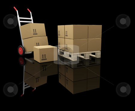Hand truck with boxes stock photo, 3D render of a hand truck and stacks of boxes by Kirsty Pargeter