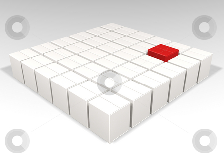 Individuality stock photo, One red box amongst many white boxes by Kirsty Pargeter