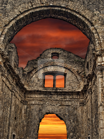 Ruin stock photo, Detail of old ruins during sunset... by Sinisa Botas