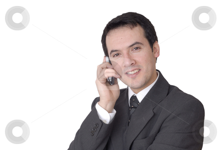 Portrait stock photo, Young man on the phone in white background by Rui Vale de Sousa