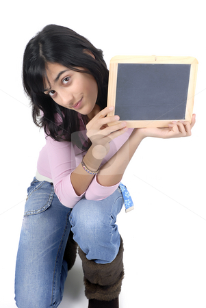 Board stock photo, Young girl with a blackboard in a white background by Rui Vale de Sousa