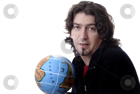 Hold stock photo, Young man with globe isolated in white background by Rui Vale de Sousa