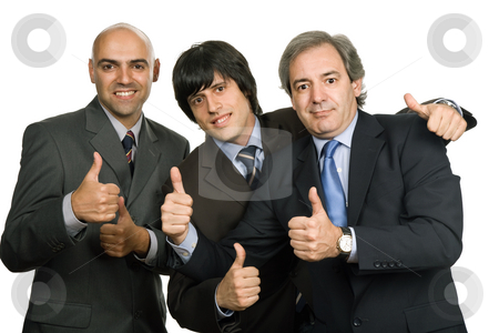 Thumbs stock photo, Three young business men isolated on white by Rui Vale de Sousa