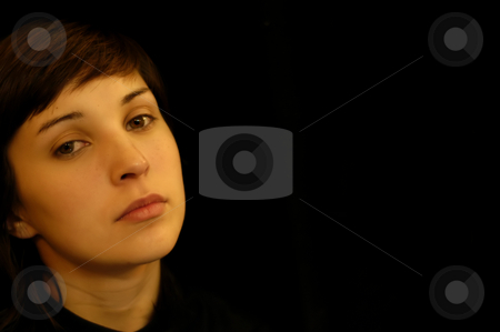 Portrait stock photo, Young woman close up portrait in black background by Rui Vale de Sousa
