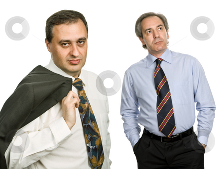 Team stock photo, Two businessman isolated on white, focus on the left man by Rui Vale de Sousa
