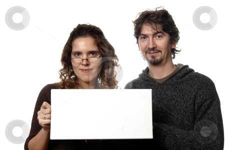 Card stock photo, Young couple holding a card, isolated on white by Rui Vale de Sousa