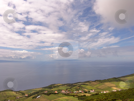 Village stock photo, Village at the coast at azores island of faial by Rui Vale de Sousa