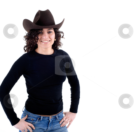 Cowgirl stock photo, Pretty young woman with a hat isolated on white by Rui Vale de Sousa
