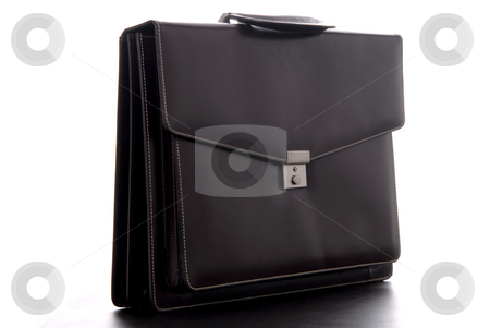 Suitcase stock photo, Brown leather business suitcase, isolated on white by Rui Vale de Sousa
