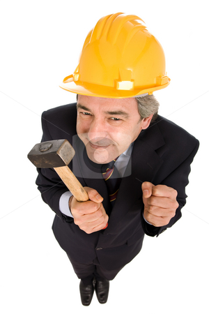 Engineer stock photo, Engineer holding a hammer, isolated on white by Rui Vale de Sousa