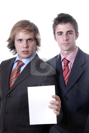 Empty stock photo, Two business men with an empty card by Rui Vale de Sousa