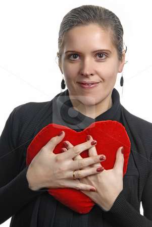 Holding stock photo, Pretty young woman holding a Valentines heart by Rui Vale de Sousa
