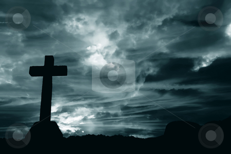 Cross stock photo, Cross silhouette and the clouds at the mountain by Rui Vale de Sousa