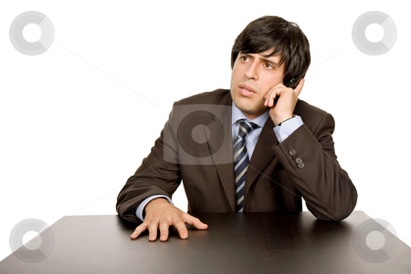 Calling stock photo, Young business man on a desk, isolated on white by Rui Vale de Sousa