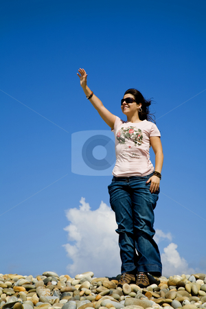 Happy stock photo, Woman at the beach with open arm and the sky by Rui Vale de Sousa