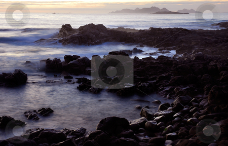 Waves stock photo, Mist in the ocean, coast of north of spain by Rui Vale de Sousa