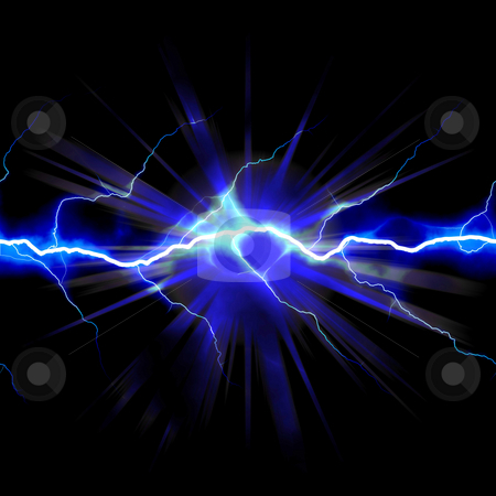 Shocking Electricity stock photo, Bright glowing lightning or electricity glowing with a star bust flare accent. by Todd Arena