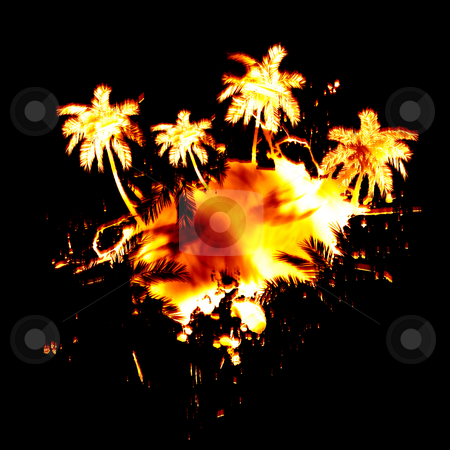 Fiery Palm Trees stock photo, Abstract layout of palm trees and paint splatter engulfed in flames. by Todd Arena