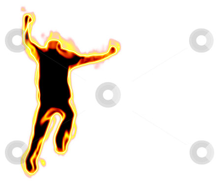 Man On Fire stock photo, A burning silhouette of a running man over a white background.   Plenty of copyspace. by Todd Arena