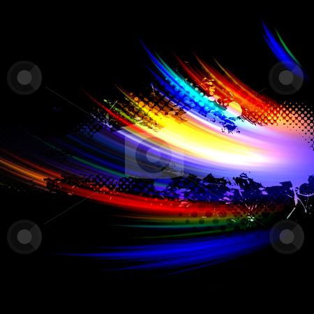 Rainbow Splatter Layout stock photo, An abstract paint splatter background texture with abstract fractal elements lots of copy space. by Todd Arena