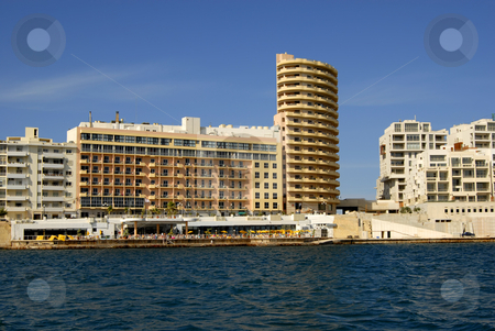 Hotel stock photo, Big hotel in the coast at Malta island by Rui Vale de Sousa
