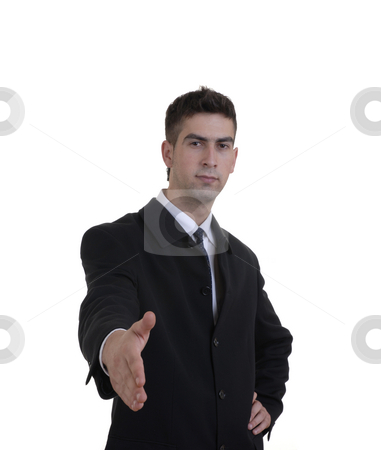 Offering stock photo, Young business man offering hand in white background by Rui Vale de Sousa