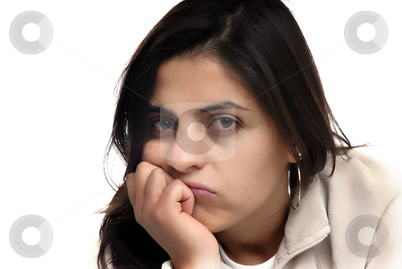 Bored stock photo, Bored young woman portrait in a white background by Rui Vale de Sousa
