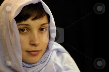 Portrait stock photo, Young woman portrait in a black background by Rui Vale de Sousa