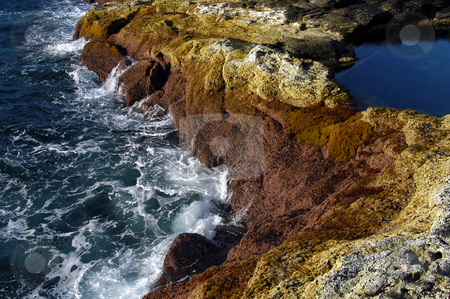 Coast stock photo, Lake on the coast with ocean waves by Rui Vale de Sousa