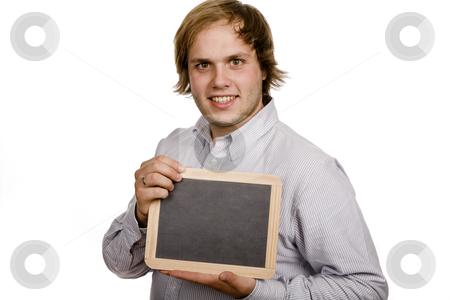 Blackboard stock photo, Young casual man with a blackboard, isolates on white by Rui Vale de Sousa