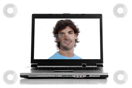 Laptop stock photo, Personal computer with a man, isolated on white background by Rui Vale de Sousa