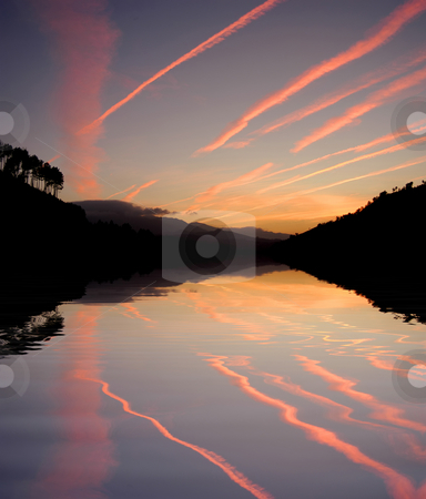 River stock photo, Sunset at the mountains with water reflection by Rui Vale de Sousa